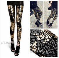 Lycra Mid Fashion New 2014 Sexy European Punk Gothic Snake Splash Ink Gradient Plus Size Women Clothing Shiny Black White Leggings Leather Pants