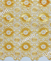 Wholesale Very Shining Yards cotton cord lace Guipure lace fabric African swiss lace fabric Wedding clothing of sequins