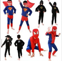 Wholesale Children Halloween custom party clothes suit Spiderman superman zorro Showtime clothing stage performance clothes child kids Spider Man set