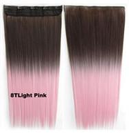 Manera de la mujer 8TLight color de rosa # Straight Two tone ombre Clip sintético del gradiente del hairpiece adentro en la extensión del pelo Sintético Ponytail los 60cm 140g