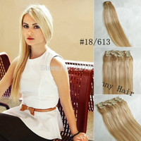 Wholesale 18 NEW Genuine clips in remy human hair extensions Mix Blonde g set