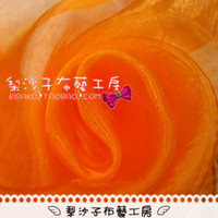 Wholesale Diy handmade organza fabric curtain fabric window gauze gauze material solid orange organza
