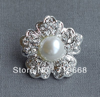 Quilt Accessories metal alloy with rhinestone and pearl Combined Button Free Shipping!100pcs lot (LO-014 25MM) flower metal rhineston button pearl center wedding embellishment hair bow DIY crafting