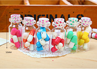 Glass Cork Frost Wholesale 2014 New Glass Wishing Bottle with Letter Paper and Cork For Children Gift 252sets lot Lucky bottles Free Shipping