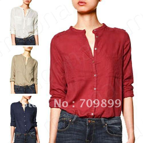 Images of Collarless Dress Shirt Womens - Fashion Trends and Models