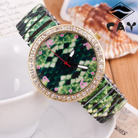 Wholesale Printing color elastic band elastic band watches fashion jewelry colored diamond snake ring Ladies Watches