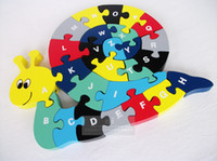 Wholesale Children Educational Early Learning Wooden Snail Letter puzzle Large letter shape Good Quality