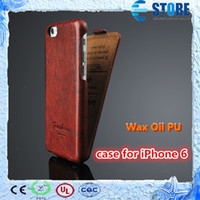 Cheap For Apple iPhone PU cover for iphone6 Best PU Leather  wax oil shell for iphone6