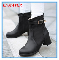 Half Boots Women Winter ENMAYER Big size 34-43 Motorcycle Boots for
