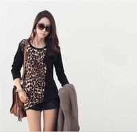 Crew Neck ladies clothing - New Fashion Trendy Women Ladies Clothes Noble Tops Long Sleeve Tees Leopard Print Pocket Loose Blouse G0289
