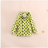 Tench coats Girl Hooded 2014 New Style Girls Two Colors Polka Dot Hooded Trench Coat Children's Fashion Casual Coat