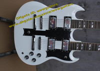 Solid Body 6 Strings Solid Hardwood SG Pearl White Rosewood Fingerboard 6 12 18 Strings Double Necks H-H 2 Pickups Jade Tuning Machines 20 Frets Electric Guitar No.0004-230 FS