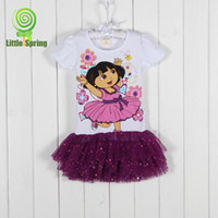 Wholesale MN Girls Dresses Summer Girl Dora suit the Explorer princess dress girls clothing Short sleeve dress Litte spring GLZ Q0143