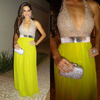 Model Pictures V-Neck Chiffon Hot Selling Fashion Sexy 2014 Deep V Neck Prom Dresses Sequin And Pleated A-Line Custom Made Long Chiffon Formal Evening Gowns
