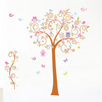 Wholesale Three generations of removable wall stickers owl cartoon children s room decoration bedroom blooms backdrop decoration sticker sticker