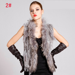 Wholesale 2014 Latest Women Knitting Rabbit Fur Vest with Raccoon Fur Collar