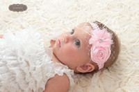 Wholesale Rolled Rose Rosettes Chiffon flower Lace With Pearls Headband Baby Girl Lace Headbands Colors