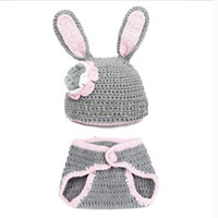 Girl Spring / Autumn Character Wholesale-4sets lot Newborn Girl Baby Hat Crochet Aminal Beanie Hat with Pants Costume Set Photo Photography Prop For 0-6 Month Gray 18009