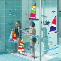 Wholesale Three generations of waterproof glass bathroom wall tiling wall wallpaper sailing ship sea breeze seagull stickers