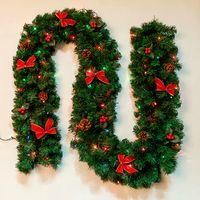 Wholesale 270cm LED lights christmas bow decoration Christmas garland Christmas decorations kg