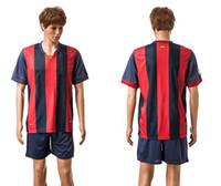 14- 15 Barcelona Home Soccer Sets Spain Red Blue Soccer Unifo...