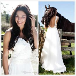 Wholesale FX Boho White Wedding Dress Spaghetti Strap Applique Ribbon Bride Gowns Ribbon Sweep Length Chiffon Ruffle Beach Garden Wedding Dresses
