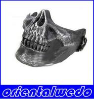 Esquelético del cráneo de Airsoft Paintball mitad de la cara Protección de la máscara para Halloween, suministros silverfactory antiguos y el envío libre al por menor