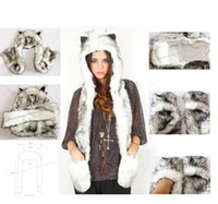 Wool beanie with ear flaps - pc High Quality Crazy Fox Precious Faux Fur Hood Animal Hat With Ear Flaps and Hand Pockets in Function