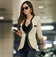 Wholesale 2014 New Fashion Winter Women Slim Blazer Coat Casual Jackets Long Sleeve V Neck Black White One Button Suit OL Outerwear Polyester WT9045