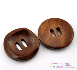 """50PCs Coffee 2 Holes Round Wood Sewing Buttons 30mm(1 1 8"""") Dia. (B21381)"""
