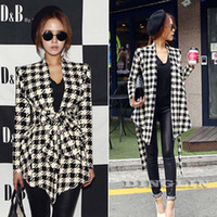Wholesale Fashion New Spring Women s Long Sleeve Houndstooth Print Open Stitch Belt Peplum Slim Jacket Cardigan Coat Top