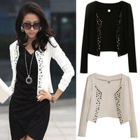Wholesale Fashion women rivets Coat clothes Comfortable leisure slim Wild suit jacket lady blazers black white