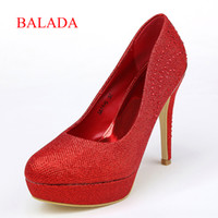 Formal Heels High Heel 2014 high quality Simple Red weeding prom formal occasions shoes high heels 13cm round toe Sequined Patent Sequin Autumn SA11