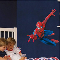 Wholesale Brand New Large Spiderman D Art Wall Decals Removable PVC Wall stickers Mural For Boys Room Decor cm