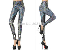 Lycra Mid Fashion New 2014 Women Rainbow Curve Leggings Design Fashion Galaxy Digital Print Pirate Costume Girls Pants Drop Ship Hot Sale S117-371