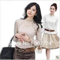 Freeshipping 2013 Donna Autunno Inverno Turtle Neck Lace T-shirt Slim 100% cotone Maniche lunghe Top Hotsale Promozione !!