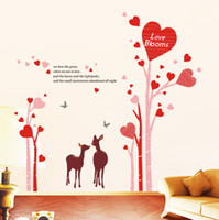 Paper Wallpapers Waterproof Living Room Bedroom wall stickers wall stickers room warm and romantic marriage bed living room TV backdrop decals love deer