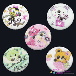 Wood Painting Sewing Buttons Scrapbooking Round 2 Holes Mixed 15mm Dia,100PCs (B24573)