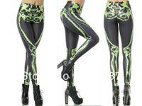 Lycra Mid Fashion 2014 New Sexy Women's Leg Bones Neon Yellow Digital Print LEGGINGS Pirate Costume Milk Pants Drop Ship Supernova Sale S117-327
