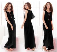 Cheap TJB321 High Quality New Women Ladies Boho Maxi Dress Chiffon Sleeveless Pleated Long Sundress M L XL quality first 1pcs