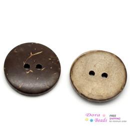 Promotion les brunes 100PCs Brun de noix de Coco 2 Trous de Bois Coudre les Boutons de Scrapbooking de 20 mm(3/4quot;)Dia. (B18437)