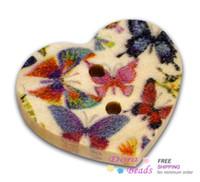achat en gros de bois bouton coeur-100 Butterfly Heart bois coudre Boutons Scrapbooking (B12437)