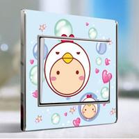 Wholesale Cartoon Switch Sticker color transparent stickers color creative switch socket sticker cartoon series