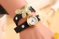Women's antiqued white - 100pcs Stylish Retro Rivet Ladies Quartz Watch Wrap Around Bracelet Clock Long Strap PU Leather with Golden Butterfly Antiqued Design