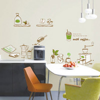 Paper Wallpapers Waterproof Living Room Removable wall stickers kitchen restaurant cafe dessert shop windows decorated kitchen utensils coffee stickers