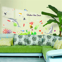Graphic vinyl Vinyl Animal Free Shipping Underwater World Bathroom Sticker Cartoon Fish Dolphin Wall Stickers Home Decor Kids Decorating Living Rooms Decal