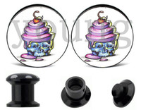 Plugs & Tunnels Body Jewelry Fashion Wholesale-Wholesale- ice cream Acrylic thread ear plugs and tunnels body jewelry piercing 10 sizes 6-25mm