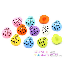 Wholesale 200 Mixed Ladybug Acrylic Sewing Shank Buttons x15mm B10486