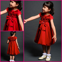 Reference Images Girl Bow Cute 2014 New China Red Baby Flower Girls' Dresses Princess Handmade Flowers Big Bow Tea-length Formal Occasion Prom Gowns Bridal