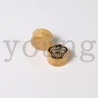 Plugs & Tunnels Body Jewelry Fashion Wholesale-Free Shipping High Quality ice cream logo wood ear plug ear tunnel piercing Body Jewelry size 12-28mm